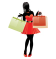 Shopping girl in red dress silhouette vector image vector image