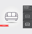 sofa line icon with editable stroke with shadow vector image vector image