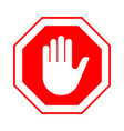 stop do not enter stop red sign with hand vector image vector image