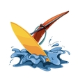 windsurfing in sea water vector image