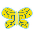 yellow butterfly with blue ornaments on white vector image vector image