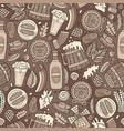 cartoon cute hand drawn beer fest seamless pattern vector image