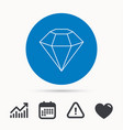 diamond icon brilliant gemstone sign vector image