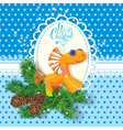 Christmas and New Year card with soft horse toy vector image