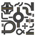 winding road parts of various shapes and vector image