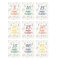Set of happy birthday card covers for anniversary vector image