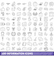 100 information icons set outline style vector image