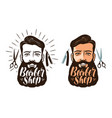 barber shop logo or label portrait of happy man vector image vector image