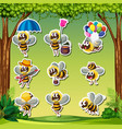 bee characater sticker nature background vector image vector image