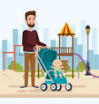 best father in the park scene vector image vector image