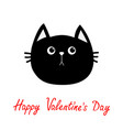 black cat head icon cute funny cartoon character vector image vector image