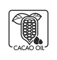 cacao oil plant and drops of oily liquid vector image vector image