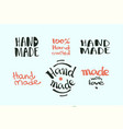 calligraphic hand made label set vector image vector image