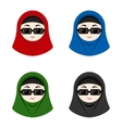 Cartoon avatars of girls with hijab vector image