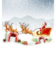 christmas santa riding his reindeer sleight vector image