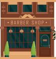 city building vintage facade barbershop vector image vector image