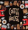 coffee background round border frame vector image