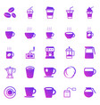 coffee gradient icons on white background vector image