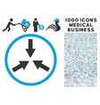 Collide Arrows Icon with 1000 Medical Business vector image vector image