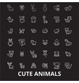 cute animals editable line icons set on vector image