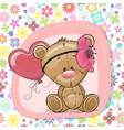 cute cartoon teddy bear girl with balloon vector image vector image