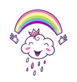 cute cloud character with colorful rainbow vector image vector image