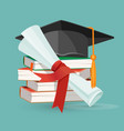 degree scroll pile books and black graduation vector image vector image
