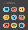 device icons set with printer video card adapter vector image