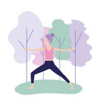 fitness woman doing exercise posture vector image