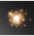 Glittering golden star light sparks vector image