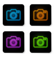 glowing neon photo camera icon isolated on white vector image vector image
