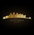 golden logo port louis skyline silhouette vector image vector image