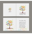 Greeting card with floral tree vector image vector image
