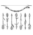 hand drawn native americans arrows and bow set vector image vector image