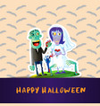 happy halloween poster with zombie wedding couple vector image