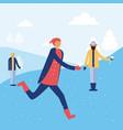 happy winter people vacation vector image vector image