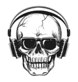 Human skull with headphones vector image vector image