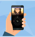 incoming call via mobile application on smartphone vector image vector image