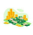 isometric 3d golden coins cash wads of money vector image vector image