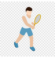 man playing tennis with tennis racket icon vector image vector image