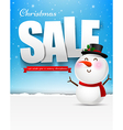 Merry christmas sale text with snowman eps10 vector image