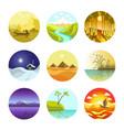 natural landscapes circular logo icons vector image vector image