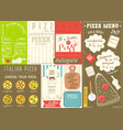 pizza menu placemat vector image vector image