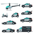 police vehicles collection various emergency vector image vector image