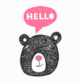 poster with hand drawn funny bear vector image vector image