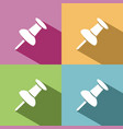 pushpin icon with shade on colored background vector image vector image