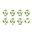 recycling symbols for plastic flat icons signs vector image vector image