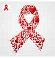 Red Ribbon symbol with AIDS icons vector image