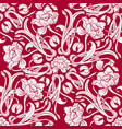 red seamless pattern with flowers in oriental vector image