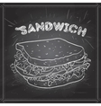 sandwich scetch on a black board vector image vector image